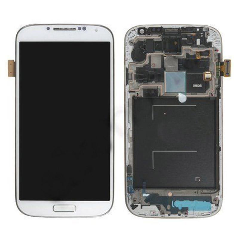 ФОТО White LCD Display Touch Screen Digitizer Glass With Frame For Samsung Galaxy S4 LTE+ i9506