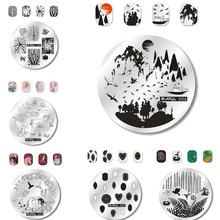 NEW 1pc Round Nail Stamping Plate Plant Lace Flower Image 5.6cm Manicure 10 designs Stainless Steel DIY Polish