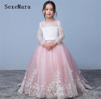 Cute Pink Puffy Tulle White Lace Flower Girls Dresses for Weddings Princess Birthday Party Dress Pageant Gown Custom Made