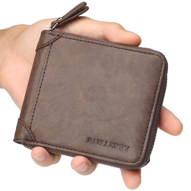 Mens Leather Wallet Men Business ID Card Holder Billfold Small Clutch Zip Purse Wallet New Brand Coffee Coin Holder Male Wallet luxury brand wallet male mens leather card holder business billfold zipper purse wallets men coin clutch carteira masculina zer