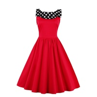Women Vintage Dress 1950s Style Polka Dots Party Dress Behind Slits Bow Sleeveless Elegant Summer