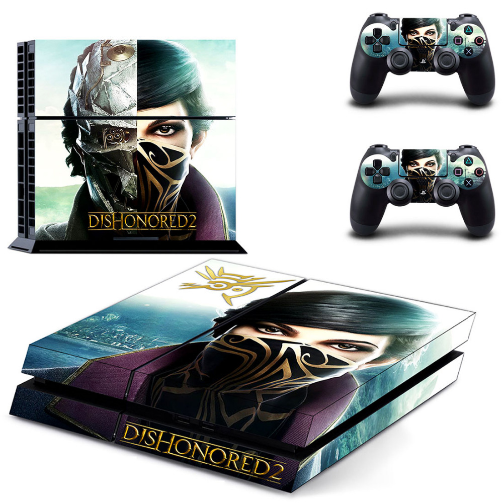 Game Dishonored 2 PS4 Skin Sticker Decal for Sony PlayStation 4 Console and 2 Controller Skin PS4 Sticker Vinyl Accessory