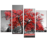 Multi Panels Landscape Canvas Wall Art Maple Tree Forest Painting Prints For Wall Decor Black And