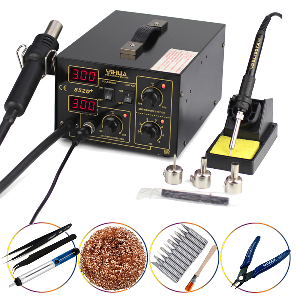 YIHUA 852D  Hot Air Gun Digital 2 in1 Pump Type 700W Soldering Iron Desoldering Station SMD Constant Temperature Rework Station