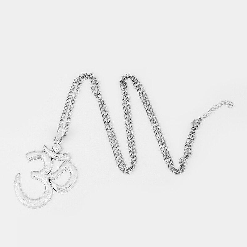 1Pcs Fashion Silver Alloy OM/OHM/AUM Symbol Yoga Statement Pendants Necklace Charm Jewelry Gift