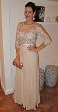 2014 Real samples New Arrival Elegant Champagne Evening Dress With Sleeves Lace See Through Free Shipping Chiffon EV2012