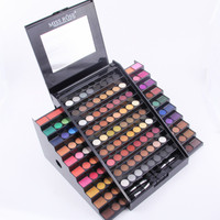 Miss Rose 130 Color Professional Makeup Ket Cosmetic Set Long Lasting Shimmer Matte Eyeshadow Ladder Mirror