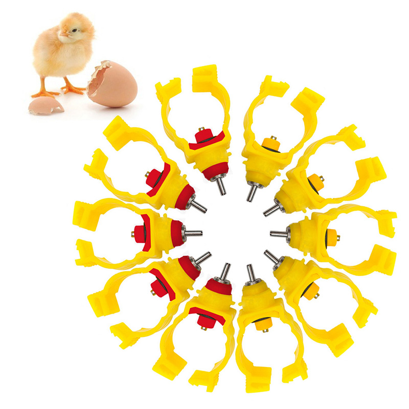 5Pcs Snap and Lock Nipples Water Drinking Poultry chicken Quail Drinker Waterer Random color-Y102