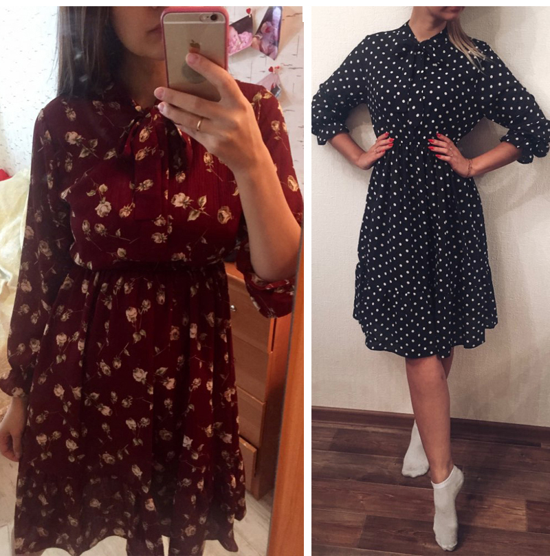 19 Autumn Winter Dress Women Chiffon Midi Casual Red Floral Long Sleeve Office Dress Polka Shirt For Ladies Dress Vestidos 4
