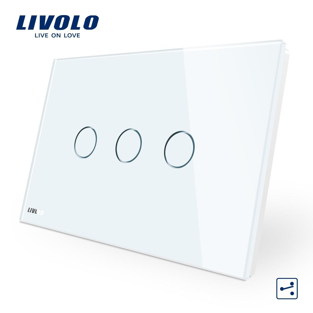 Livolo AU/UNS StandardTouch Schalter, VL-C903S-11, Weiß Kristall Glas-Panel, 3-gang 2-weg Touch Control Licht Schalter
