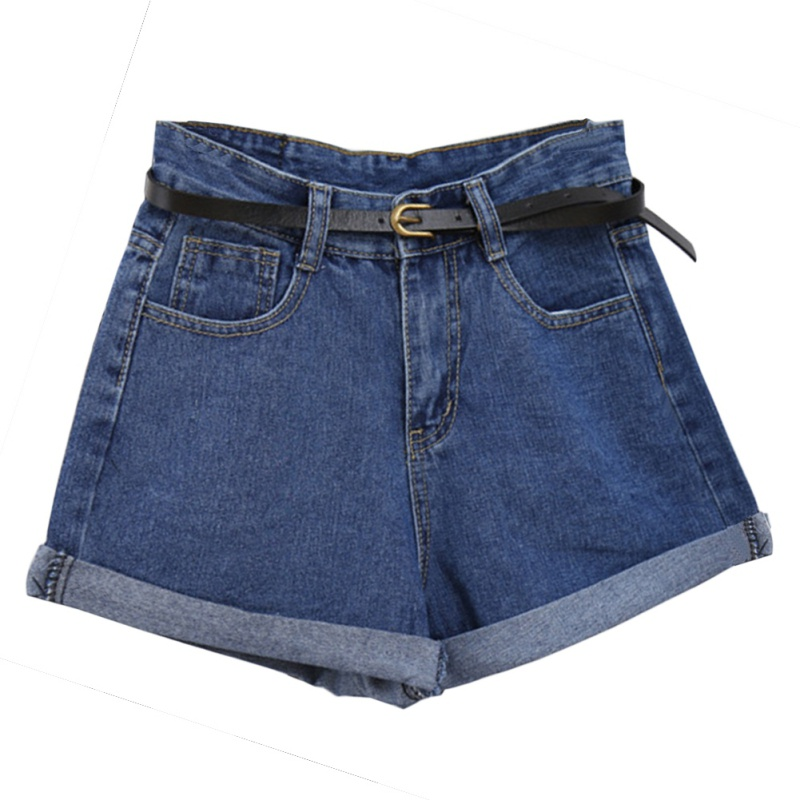 Fashion Vintage Jeans Woman Summer High Waisted Rolled Denim Jean Shorts With Pockets Plus Size Shorts
