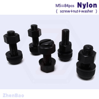 M5 8mm 30mm 7 Kinds 28pcs Nylon Knurled Tighten Bolt Waterproof Plastic Slotted Screws With Nut