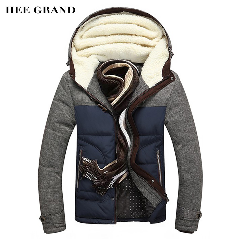 ФОТО HEE GRAND Men Winter Jacket Big Size M 5XL  Casual Slim Cotton With Hooded Parkas Casaco Masculino MWM1215