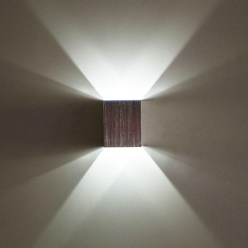 Moderne 3 W LED mur lampe Carré Up Down murale intérieur chevet coin