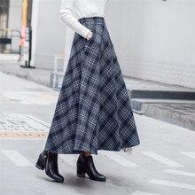 Automne hiver Wram femmes laine jupe élastique taille haute Palid jupes décontracté a-ligne laine jupes femme longue grande balançoire jupe A708