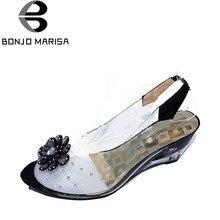 51248b28217b1d BONJOMARISA Grande Taille 34-43 Usine Prix Rome élégant haute qualité mode talon  compensé sandales