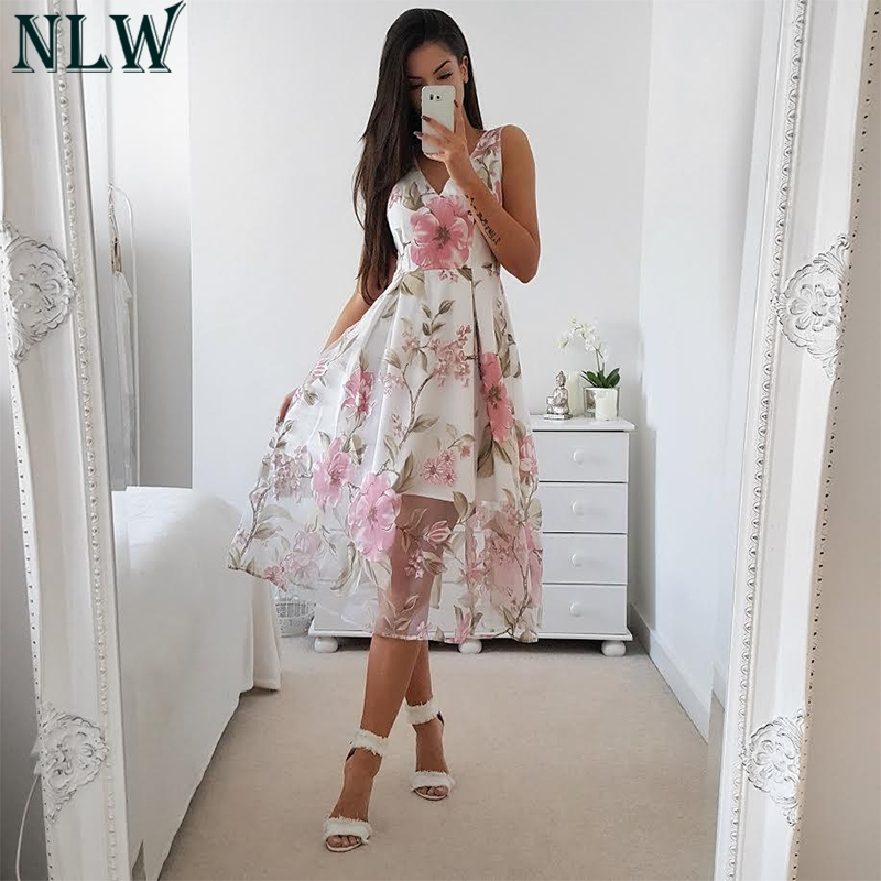 NLW Mesh Print Midi Dress Floral Summer Sundress Women Elegant Beach Party Syle Wear V Neck Sleeveless Female Girl Dress Vestido