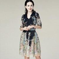 100% 실크 드레스 새로운 Designal 천연 실크 쉬폰 드레스 여자 여름 드레스 여름 스타일의 드레스 여성 무료 배송
