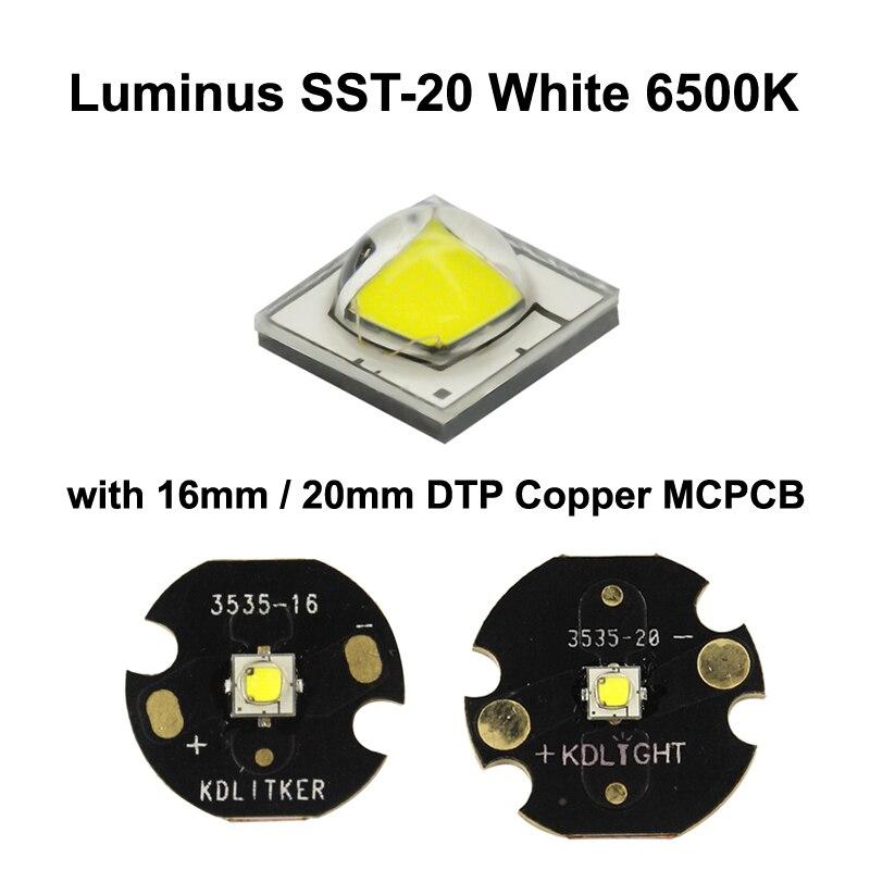Luminus SST-20 beyaz 6500K LED verici ile 16mm / 20mm DTP bakır MCPCB - 1 adet