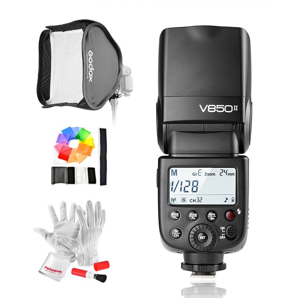 Godox V850II GN60 2.4G Wirless X System Speedlite w/ 2000mAh Battery Flash Light for Canon Nikon DSLR Cameras + Softbox + Filter genuine meike mk950 flash speedlite speedlight w 2 0 lcd display for canon dslr 4xaa