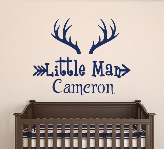 Personalized Custom Boy Name Wall Decal Vinyl Stickers Horns Hunting Theme Nursery Home Decor
