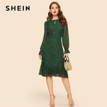 SHEIN Multicolor Keyhole Neck Flounce Sleeve Leopard Dress Vintage High Waist Fit and Flare 2019 Spring Elegant Women Dresses