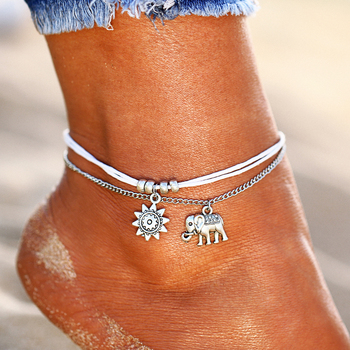 IF ME Vintage Multiple Layers Charms Anklets For Women Silver Color Sun Shape Beads Summer Female Foot Chain Jewelry Party Gifts 1