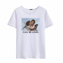 YELITE CALL MY ANGEL Letter Print T-shirt New Fashion Summer Women Tops Cartoon Japanese Harajuku Large Size Funny Loose T Shirt