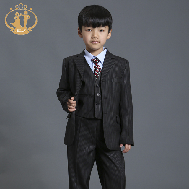 f64863389 Nimble Black Stripe Suit for Boy Formal Boys Suits for Weddings ...