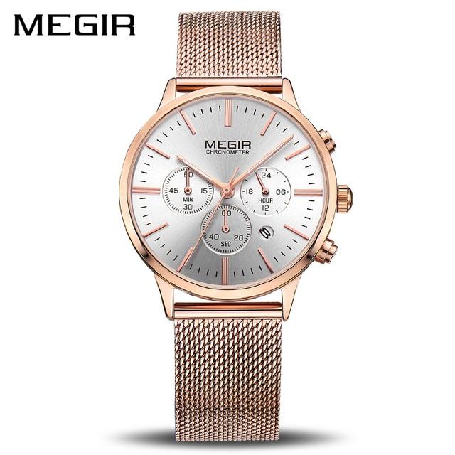 ab6f10a7ff0 MEGIR Marca de Luxo Mulheres Relógios de Quartzo Moda Senhoras Relógio  Relogio feminino Relógio Do Esporte