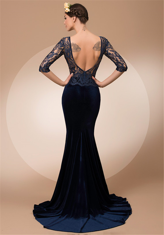 Arabic Style Evening Dresses Mermaid Backless Half Sleeve Navy Blue Velvet  Custom Made Backless French Lace Patterns Side Slit-in Evening Dresses from  ... 1275011f1da0