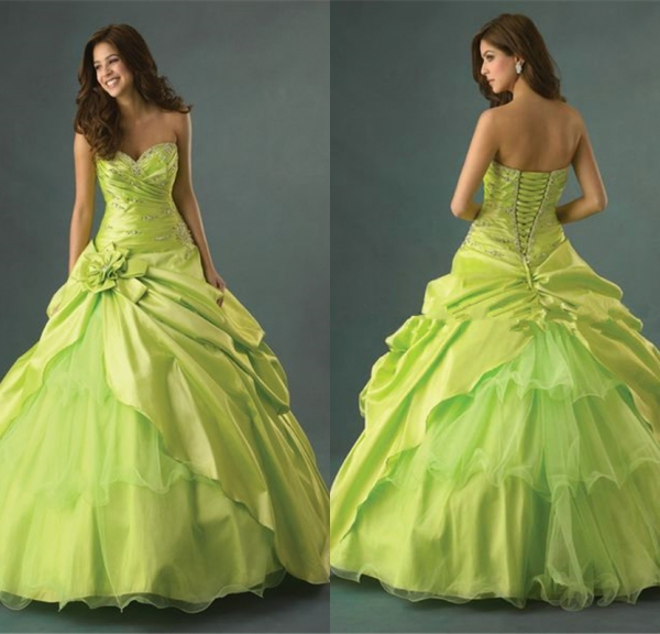 2014 Nectarean Strapless Beaded Asym Satin&Tulle Rosette