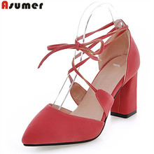 Asumer 2017 hot sale new arrive women pumps fashion lace up pointed toe summer shoes ladies high heels shoes sexy party shoes