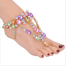 flower Ankle Bracelet For Beach Vacation Sandals Sexy Leg Chain Female Boho Crystal Anklet Statement Jewelry