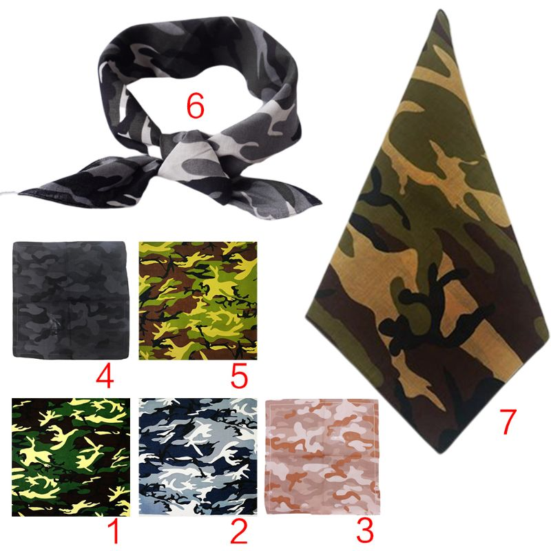 Outdoor Cycling Headband Military Tactical Camouflage Print Unisex Cotton Pocket Square Scarf Bandana Hip-Hop Wristband Neck Tie