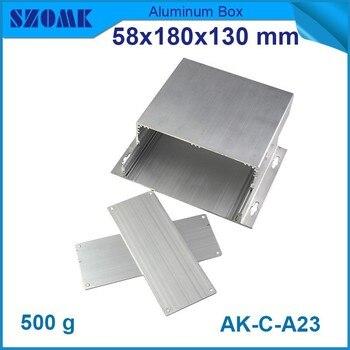 4 pcs/lot silver color anodizing aluminium extrusion enclosure 58(H)x180(W)x130(L) mm small aluminum box  perfil extrusion
