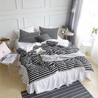 IvaRose Black white Stripe bedding sets Flannel fabric warm winter 4/6pcs Bedlinen King Queen duvet cover+bed skirt+pillowcase
