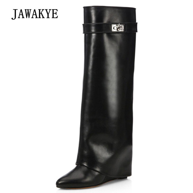 2018 Real Leather Chic Knee High Boots Woman Pointed Toe Silver Metal Shark Lock Wedges High Heel Boots Women Design long Boots trendy metal and rhinestones design women s knee high boots