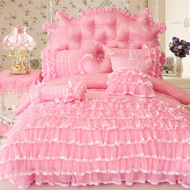 Księżniczka styl Twin królowej King size różowy krem do zestaw pościeli luksusowe łóżko okładka kołdra pokrywa falbanka na ramę łóżka zestaw prześcieradeł parure de lit w Zestawy pościeli od Dom i ogród na  Grupa 1