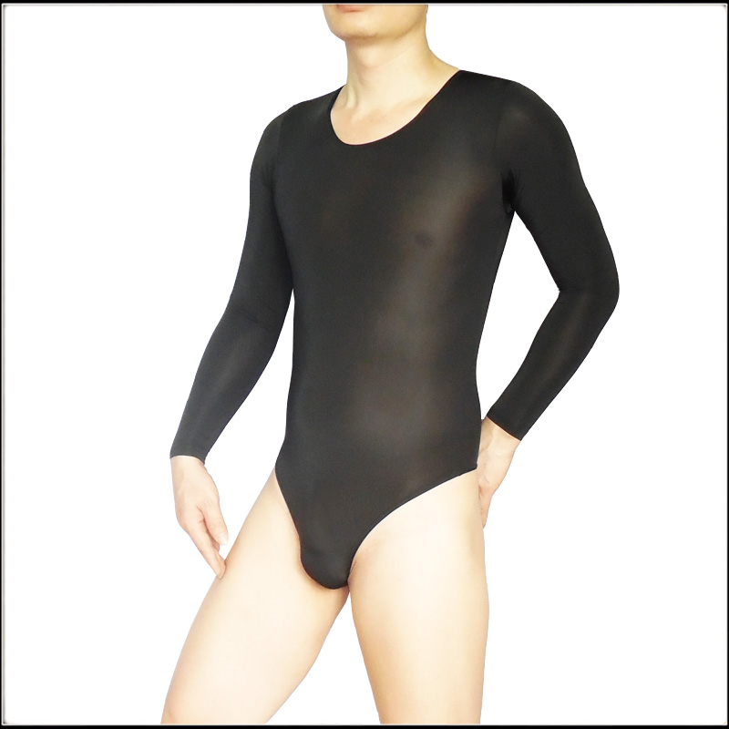 Mens Long-sleeve Ice Silk Bodysuit General Ultra-thin Body Shaping A Piece Tights Slim Sleep Bottom French Style