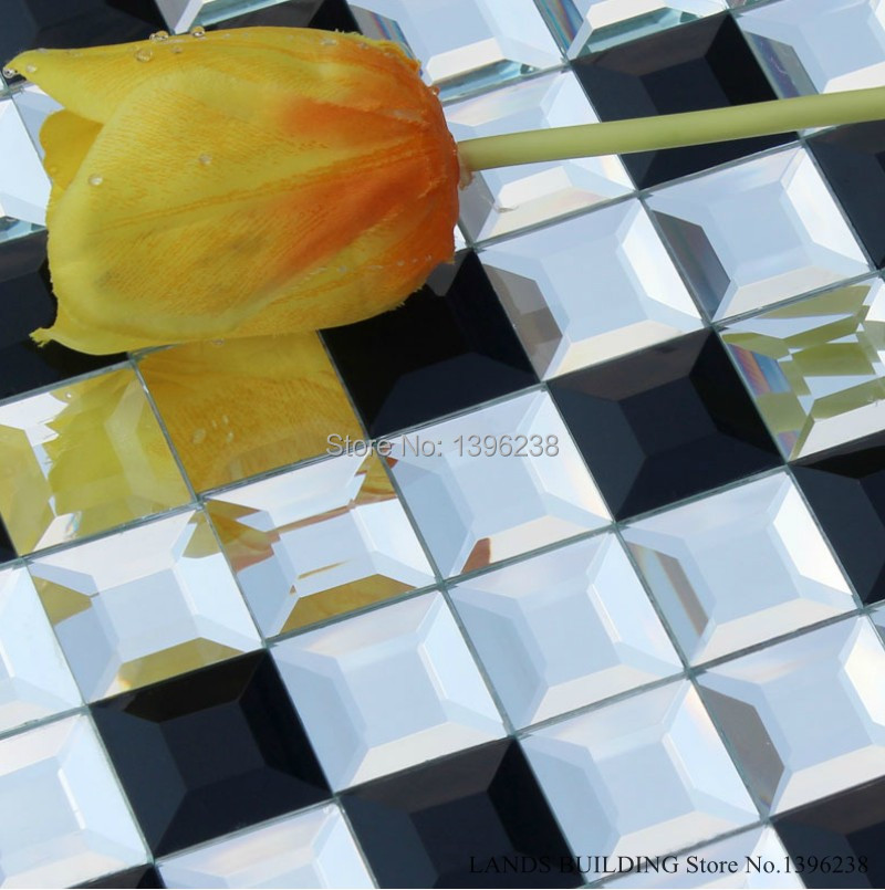 Splendid Black and White Puzzle Crystal Glass Mirror Mosaic Tiles,Bathroom Kitchen Pool Wall Decor Backsplash Art sticker,LSMR15 bathroom decor floral toilet lid wall sticker