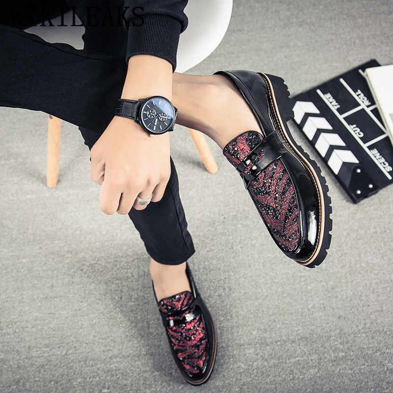 2019 итальянские Роскошные Брендовые мужские туфли-оксфорды без шнуровки с острым носком; лакированные кожаные туфли в деловом стиле; свадебные туфли; мужские лоферы