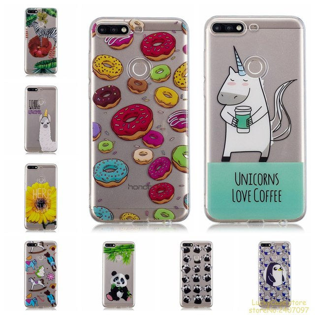 reputable site 05452 b462e US $2.99 10% OFF|Luxury Soft Silicone TPU phone case For Huawei Y7 2018  phone cover lovely unicorn owl panda Painted cases fundas-in Half-wrapped  Case ...