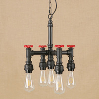 Vintage iron black hang lamp LED 5 lamp Pendant Light Fixture E27 220V For Kitchen Lights path bar study dining room bed room
