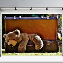 Laeacco Bear Toy In Luggage Box Scene Photography Backgrounds Vinyl Custom