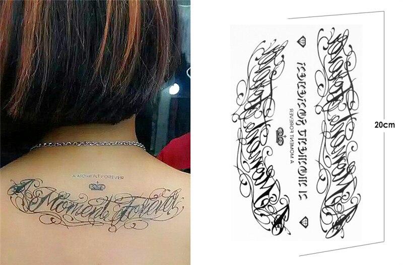 Black Temporary Tattoo Words Sticker Latin English Word A MOMENT ...