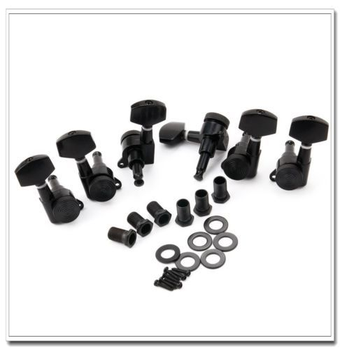 1 set 3L3R Guitar Locking Tuners Tuning Pegs Machine Heads Black a set chrome sealed gear tuning pegs machine heads tuners for guitar with black big square wood texture buttons