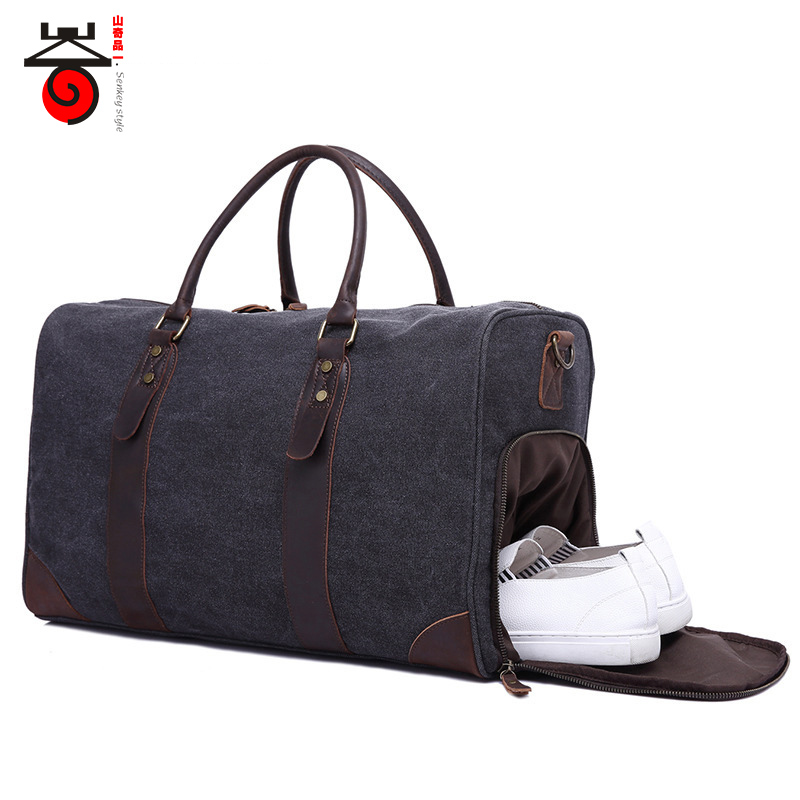 2018 Fashion Canvas Men's Travel Bag Carry on Luggage Bags Vintage Handbag Crossbody Men Duffel Bags Travel Tote Shoulder Bags aosbos fashion portable insulated canvas lunch bag thermal food picnic lunch bags for women kids men cooler lunch box bag tote