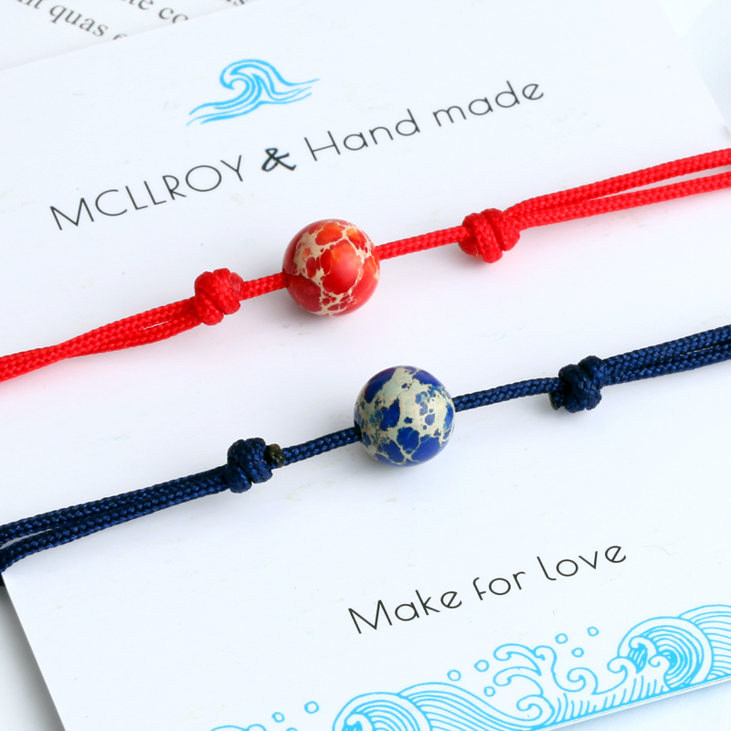 2pcs/set Couple Bracelet For Lovers Natural Stone Bead Bracelet Men Women Red String Braiding Bracelet Homme men jewelry Gifts