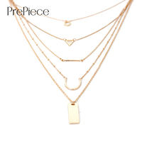 PrePiece Simple Geometric 18K Gold Plated Multi Layer Alloy Pendant Necklace New Fashion Popular Jewelry For